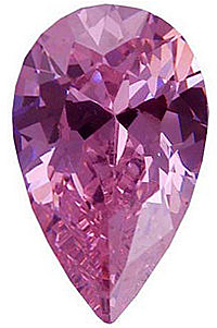 Loose Quality Faceted Pink Cubic Zirconia Gem in Pear Shape Sized 6.00 x 4.00 mm