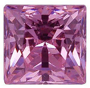 Loose Quality Faceted Pink Cubic Zirconia Gem in Princess Shape Sized 4.00 mm