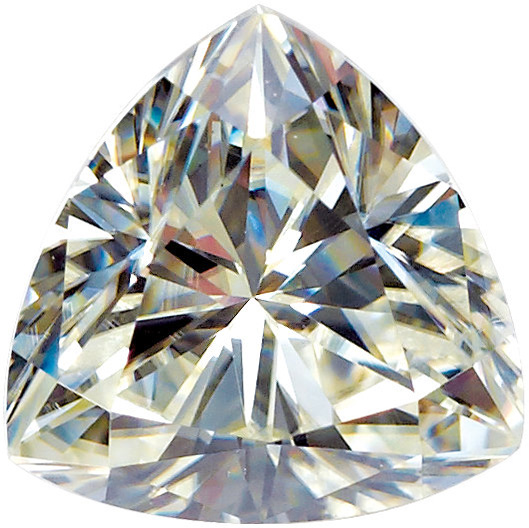 Loose Quality Synthetic Moissanite Gem by Charles & Colvard in Trillion ShapeGrade AAA, 3.00 mm in Size
