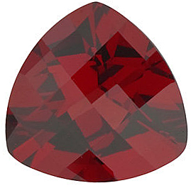 Loose Red Garnet Stone, Trillion Shape Checkerboard, Grade AAA, 7.00 mm in Size, 1.45 carats