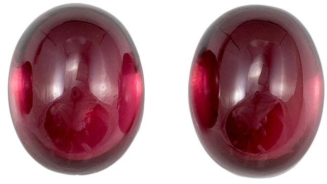 Loose Rich Rhodolite Gemstones, Cabochon Cut, 5.7 carats, 9 x 7 mm Matching Pair, AfricaGems Certified - Great for Studs