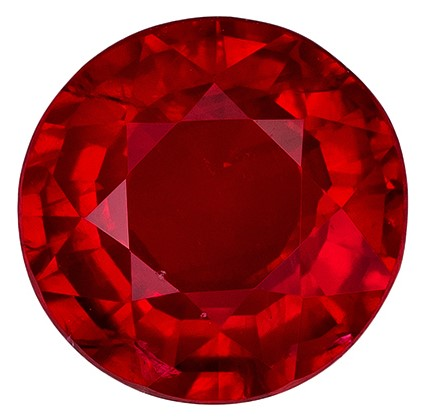 Loose Fiery Ruby Gemstone, Round Cut, 0.95 carats, 6 mm , AfricaGems Certified - A Great Buy