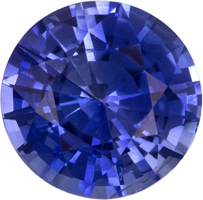 Loose Rich Blue Sapphire Gem in Round Cut, 5.0 mm, 0.60 carats