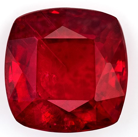 Loose Ruby Cushion Shaped Gemstone, 1.3 carats, 6mm - Low Price on