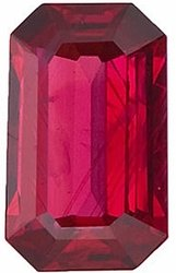 Faceted Ruby Gemstone, Emerald Shape, Grade A, 6.00 x 4.00 mm in Size, 0.7 Carats