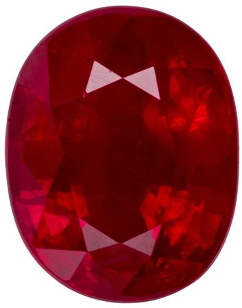 Loose Ruby Gem in Oval Cut, Rich Red, 7.7 x 6.2 mm, 2.01 carats - Great Value