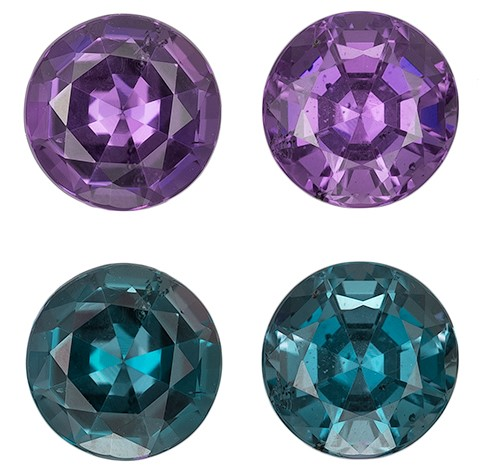 Loose Stone Alexandrite Round Shaped Gemstones Matched Pair, 0.7 carats, 4.1mm - Low Price