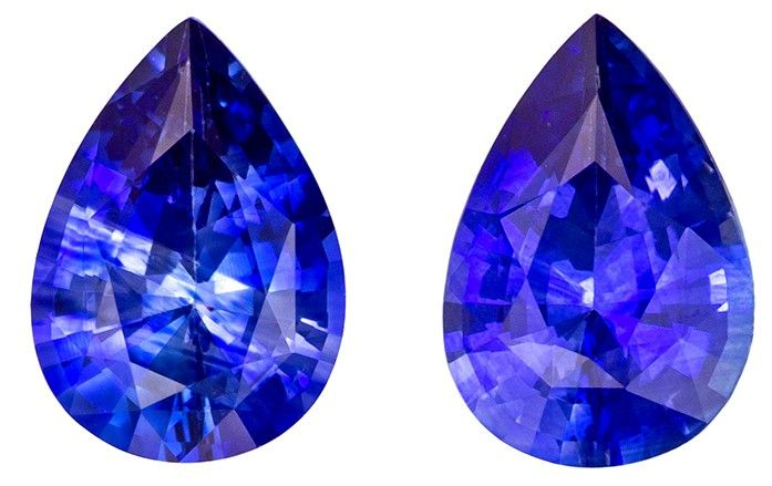 Loose Stunning 1.3 carats Sapphire Loose Gemstone Pair in Pear Cut, Rich Blue, 7 x 5 mm