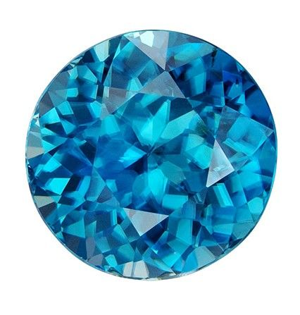 Loose Stunning 6.5 mm Zircon Loose Genuine Gemstone in Round Cut, Rich Blue, 1.52 carats