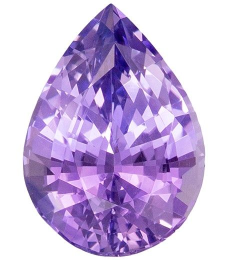 Loose Stunning 7.2 x 5.1 mm Sapphire Genuine Gemstone in Pear Cut, Lilac Purple, 0.98 carats