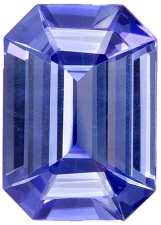 Loose Stunning 7 x 5 mm Sapphire Genuine Gemstone in Emerald Cut, Cornflower Blue, 0.95 carats