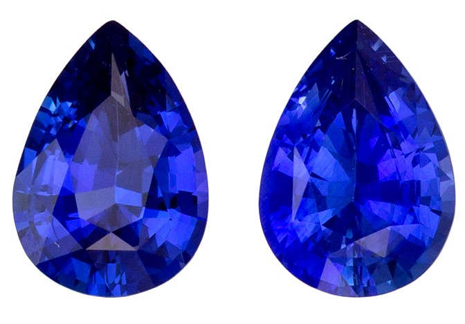 Loose Stunning 7 x 5 mm Sapphire Loose Genuine Gemstone Pair in Pear Cut, Vivid Blue, 1.52 carats