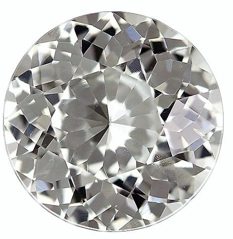 Loose Stunning 9.4 mm Sapphire Genuine Gemstone in Round Cut, Colorless White, 3.69 carats