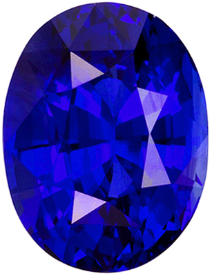 Loose Stunning 9.6 x 7.3 mm Sapphire Loose Gemstone in Oval Cut, Vivid Blue, 3.42 carats