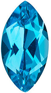 Loose Swiss Blue Topaz Gem, Marquise Shape, Grade AAA, 6.00 x 3.00 mm in Size, 0.32 Carats