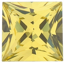 Loose Yellow Sapphire Stone, Princess Shape, Grade AA, 5.00 mm in Size, 0.84 Carats