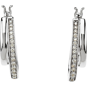 Lovely 0.25 carat total weight Diamond Hoop Earrings skillfully set in 14 karat White Gold for SALE - 1.40 mm stones - SOLD