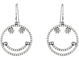 Lovely 0.60 carat total weight 1.00 mm Diamond Smiley Face Earrings skillfully set in 14 karat White Gold for SALE