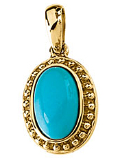 Lovely 1.86ct 11x8mm Oval Cut Turquoise Cabochon Pendant set in 14 karat Yellow Gold - Free Chain