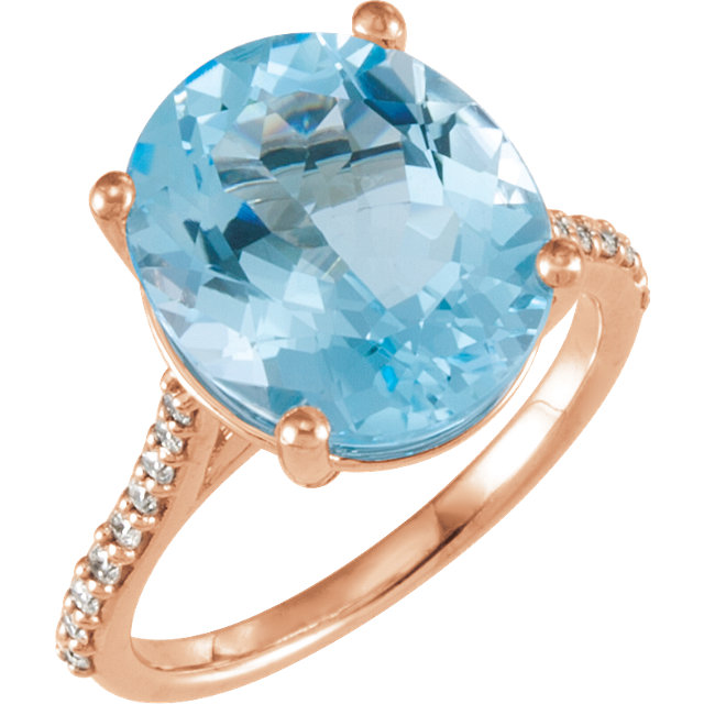 Genuine Topaz Ring in 14 Karat Popular Rose Gold Sky Genuine Topaz & 1/4 Carat Diamond Ring