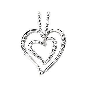 Lovely 14k White Gold Double Heart Pendant with .1 ct Diamond Accents - FREE Chain