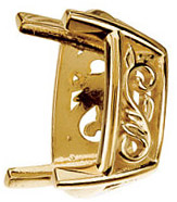 Lovely 14kt Gold 4 Prong Laurel Scroll Setting for Antique Cushion Shape Gemstone Sized 10.00 x 8.00 mm to 14.00 x 10.00 mm