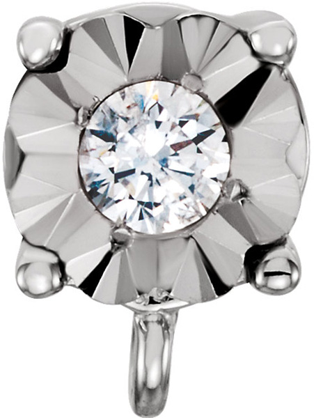 Lovely 14kt White .01 CTW Diamond Illusion Preset Earring with Jump Ring - Choose Diamond Accent Size