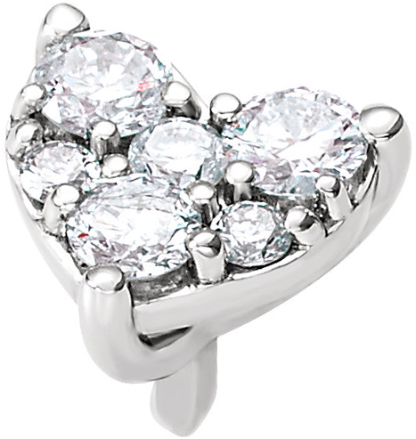 Lovely 14kt White Gold Heart Cluster Peg Preset Jewelry Finding for SALE  Choose Diamond Carat Weight
