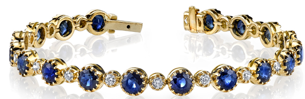 Lovely 18kt Yellow Gold Handcrafted Blue Sapphire (11.85 ctw) & Diamond (1.01 ctw) Bracelet
