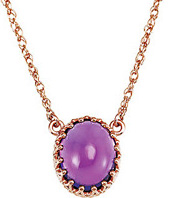 Lovely 2.4ct 10x8mm Oval Shape Cabochon Amethyst Pendant With Decorative 14 Rose Gold Prongs - Elegant Look!