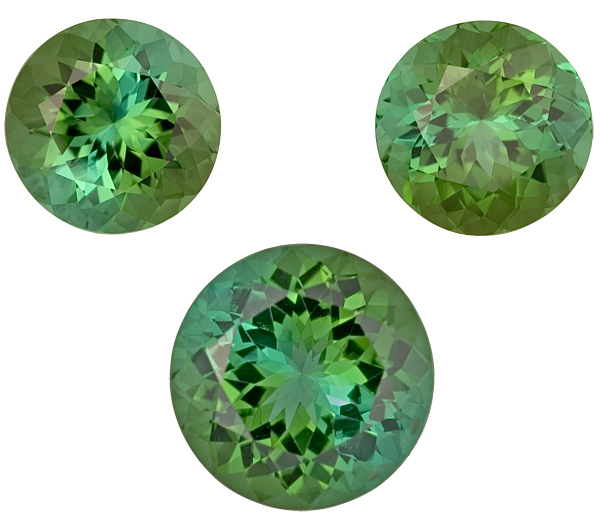 Lovely 3 Piece Suite - Round Bright Unheated Green Tourmaline Gems, 10.0mm Pair, 11.5 mm Single, 12.59 carats