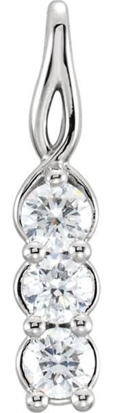 Lovely 3-Stone 3.40 mm Diamond Pendant With Twisted 14k Gold Frame - Choose Metal Type - FREE Chain