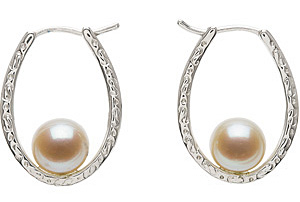 Lovely 8mm Freshwater Cultured Pearl Earrings in Sterling Silver