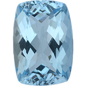 Lovely Aqua Loose Gem in Antique Cushion Cut, Light Green Blue, 11.96 x 8.44 mm, 3.71 Carats