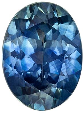 Lovely Blue Green Sapphire Loose Gemstone, Vivid Teal Blue, Oval Cut, 7.5 x 5.5 mm, 1.32 carats