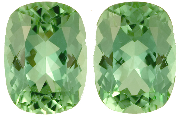 Lovely Cool Chrome Like Green Unheated Tourmaline Pair - Great Match! 11.0 x 8.2mm, 6.74 carats