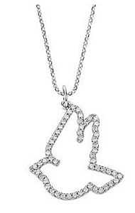 Lovely Dove Outline 1/4 ct Diamond Pendant - Choose 14k White or Yellow Gold - FREE Chain Included