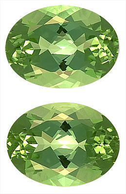 Lovely Green Tourmaline Genuine Matched Gemstone Pair for SALE - What a Color,  Oval Cut, 11.5 x 8.6 mm, 7.27 carats
