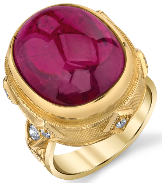 Lovely Hand Made Bezel Set 18.98ct Cushion Cabochon Pink Tourmaline18kt Yellow Gold Ring With Diamond Accents