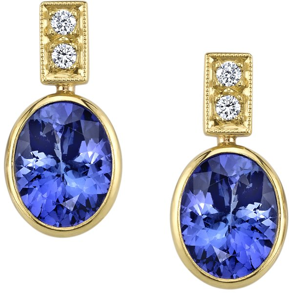 Lovely Handmade 18kt Yellow Gold Post Back Dangle Bezel Set Oval Tanzanite Earrings - 0.20ctw Diamond Accents