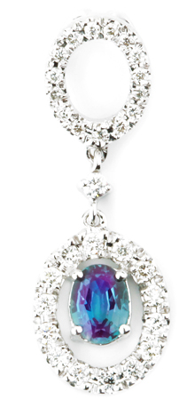 Lovely Heirloom Style Genuine Alexandrite Dangle Pendant With an Open Diamond Circle Motif  - 0.36 carats, 5.30 x 4.35 mm