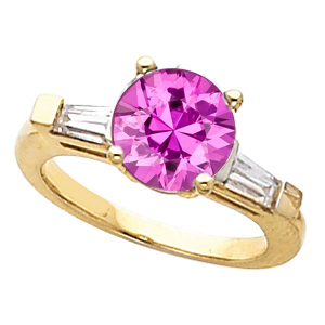 Lovely Large Beautiful 1.08ct 6mm Real Pink Sapphire Gemstone Engagement Ring With Diamond Baguette Side Gems