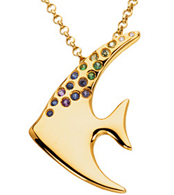 Lovely Multicolor Gemstone Angelfish Brooch/Necklace set in 14 karat Yellow Gold - Free Chain - SOLD