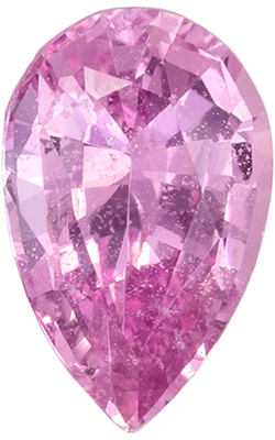 Lovely No Heat Pink Sapphire Gemstone in Pear Cut, Vivid Baby Pink, 8.58 x 5.48 x 3.58 mm, 1.23 carats