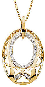 Lovely Oval Shaped Loop Pendant with Heart Cutouts and Inner Diamond Circle Accents - 14k White or Yellow Gold - FREE Chain - SOLD