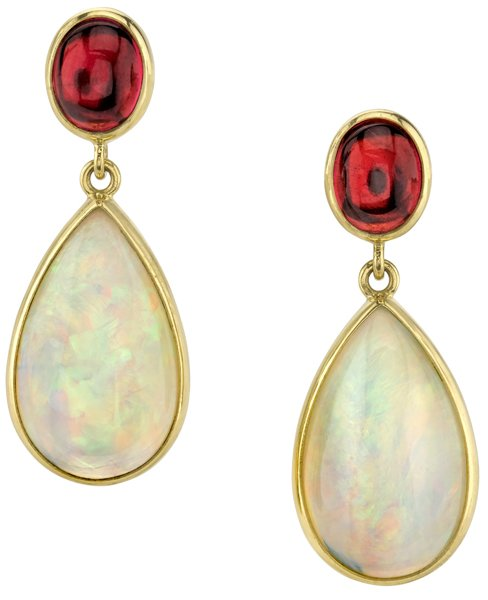 Lovely Pear Opal (17.41ctw) & Oval Cabochon Pink Tourmaline Post Back Dangle Earrings in 18kt Yellow Gold