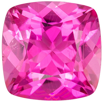 Lovely Pink Tourmaline Genuine Gemstone, Cushion Cut, Vivid Hot Pink, 7.6 mm, 1.81 carats