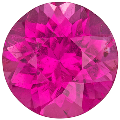 Lovely Pink Tourmaline Genuine Gemstone, Round Cut, Rich Hot Pink, 7.9 mm, 1.87 carats