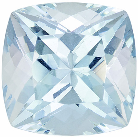 Lovely Powder Blue Cut Aquamarine Gemstone in Cushion Cut, 9.3 x 9.2 mm, 3.62 carats