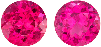 Lovely Rare Pink Tourmaline Well Matched Pair, Round Cut, Medium Rich Pink, 8.8 mm, 5.57 carats
